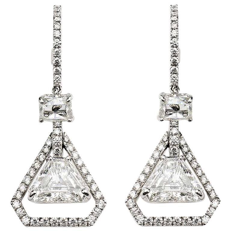 3.07 Carat Trilliant Cut Diamonds Gold Earrings