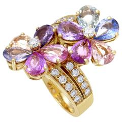 Bulgari Sapphire Diamond Gold Flower Ring