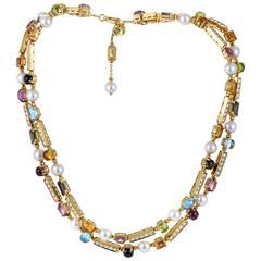 Bulgari Pearl Gemstone Diamond Gold Collar Necklace