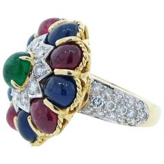 1990s Emerald Sapphire Ruby Diamond Gold Gemstone Gumdrop Ring