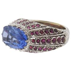 Buccellati Sapphire Ruby Gold Ring