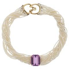 Tiffany & Co Angela Cummings Kunzite Pearl Gold Torsade Necklace