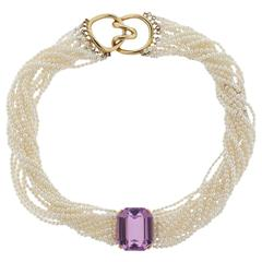 Tiffany & Co Angela Cummings Kunzite Pearl Gold Torsade Necklace