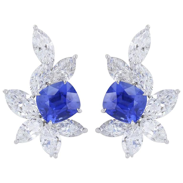 11.10 Carat Natural Sapphires 11.95 Carat Marquise Diamonds Clip Earrings