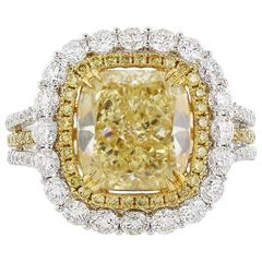 GIA Certified 3.66 Radiant Cut Fancy Yellow Diamond Gold Ring