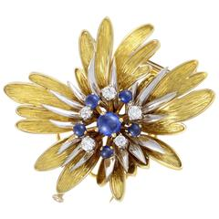 Sapphire Diamond Two Color Gold Floral Brooch