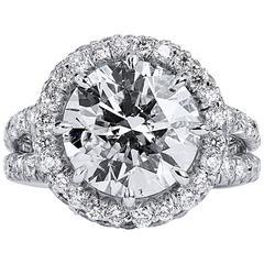 Halo Diamond Platinum Split Shank Engagement Ring