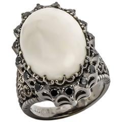 Cynthia Bach White Coral & Black Diamond Ring