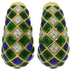 1970s David Webb Enamel Diamond Gold Platinum Earrings