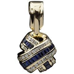 Charles Krypell Sapphire Diamond Gold Kiss Pendant