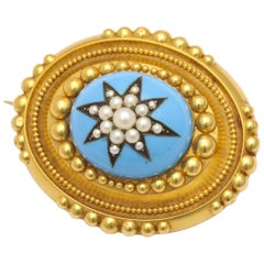 Antique Victorian Pearl Star Turquoise Enamel Gold Brooch
