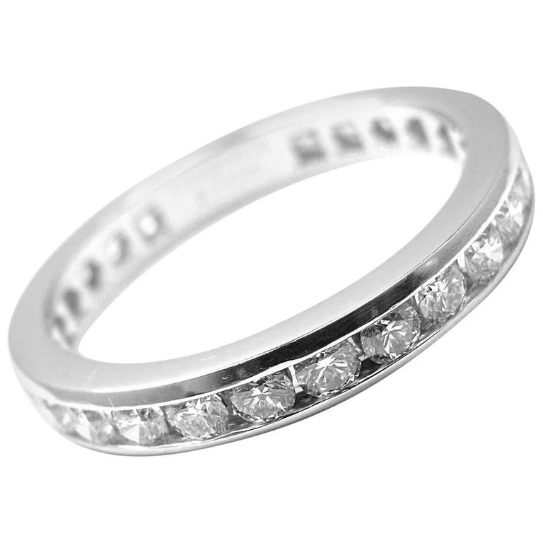 Tiffany And Co Diamond Platinum Eternity Wide Band Ring