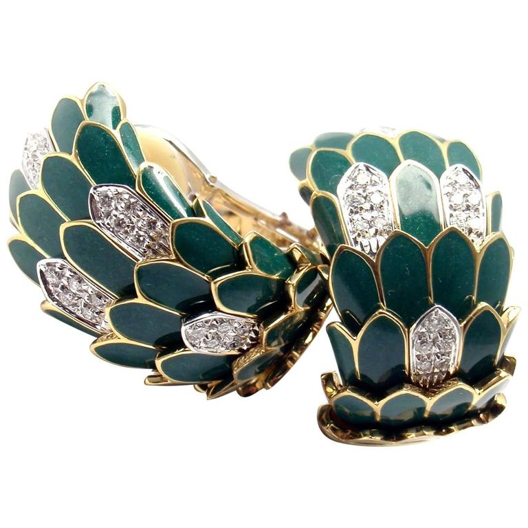 Roberto Coin Cobra Animelier Green Enamel Diamond Rose Gold Earrings 1