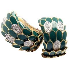 Roberto Coin Cobra Animelier Green Enamel Diamond Rose Gold Earrings