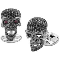 Deakin & Francis Sterling Silver Black Spinel Skull Cufflinks