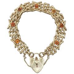 Antique 1920s 3.15 Carat Citrine and 9 k Yellow Gold Gate Bracelet