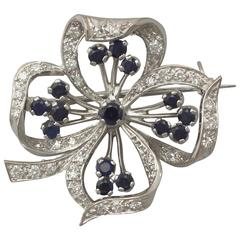 1971 0.70 Ct Diamond 0.51 Ct Sapphire White Gold Clover Brooch