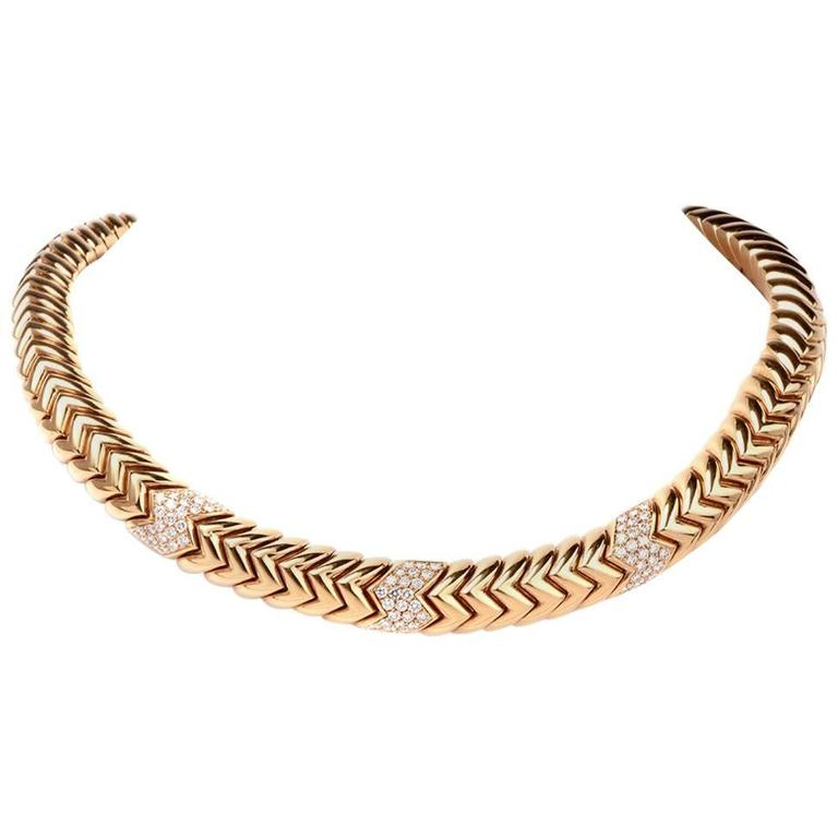 Bulgari Spiga 5.20 Carat  Diamond Gold Snake Choker Necklace