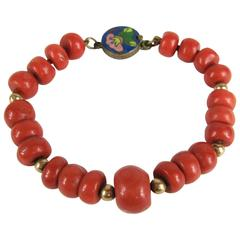 Early Natural GIA Mediterranean Coral Gold Beaded Bracelet with Enamel Clasp