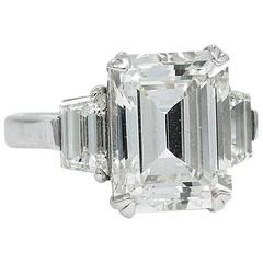 7.00 Carat GIA Emerald Cut Diamond Three-Stone Engagement Ring