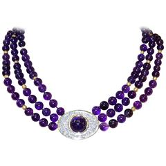 Fine Amethyst Diamond Gold Platinum Necklace