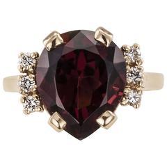 Garnet Diamond Gold Ring