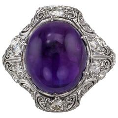 Art Deco Amethyst Diamond Platinum Ring