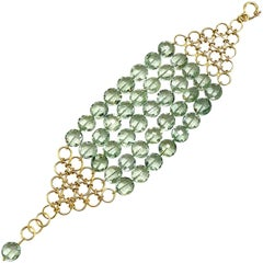 Green Amethyst Gold Five Row Mesh Bracelet