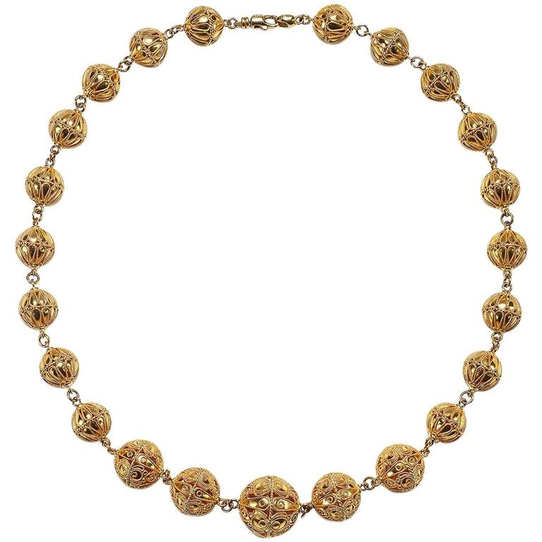 Gold Filigree Bead Necklace