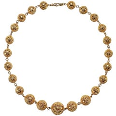 14 Karat Gold Filigree Bead Necklace