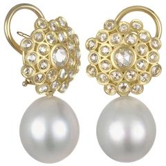 Faye Kim White South Sea Pearl Rose Cut Diamond Gold Zinnia Drop Earrings