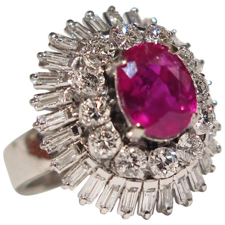 AGL Certified Natural No Heat Burmese Ruby Diamonds Ring For Sale