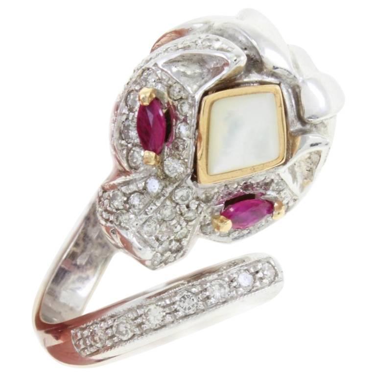 Stylized Ruby Diamond Gold Lion Ring