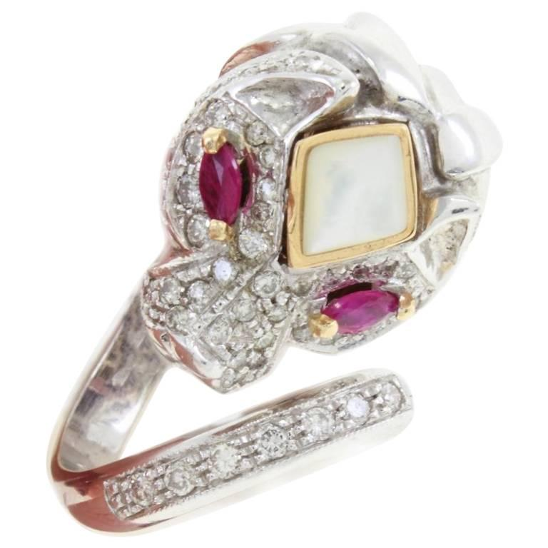 Stylized Ruby Diamond Gold Lion Ring For Sale