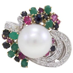 Multi-Colored Australian Pearl Two-Color Gold Ring
