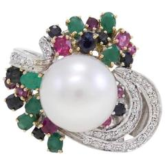 multi-colored Australian pearl Two Color Gold ring