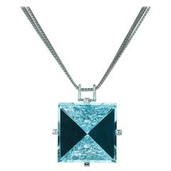 Samuel Getz Extraordinary Mirror Rough Cut Aquamarine Diamond Gold Pendant