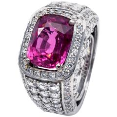 Natural Unheated 6.42 Carat Pink Sapphire Diamond Ring