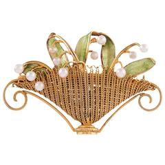 Art Nouveau Gold Basket Pin