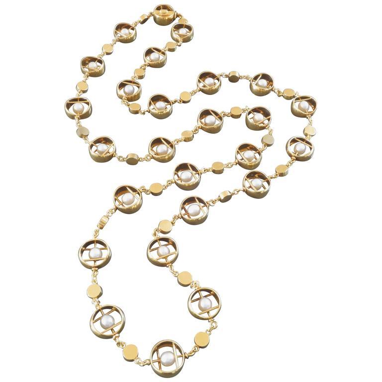 Herbert Haarstick Unique Modernist Pearl Gold Long Chain Necklace