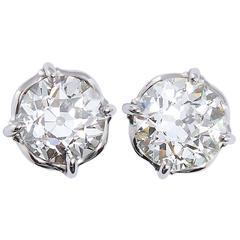 2.01 Carats GIA Cert Old European Cut Diamond Stud Earrings