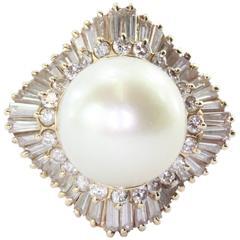 Large Round Cream Rose Pearl Diamond Gold Halo Ring