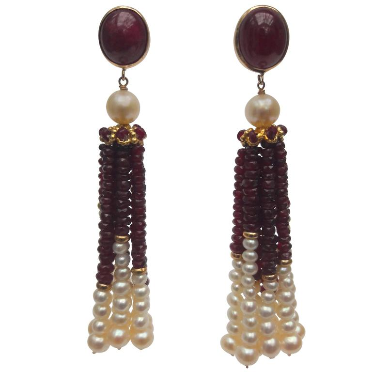 Marina J. Pearl Ruby Gold Graduated Tassel Earrings