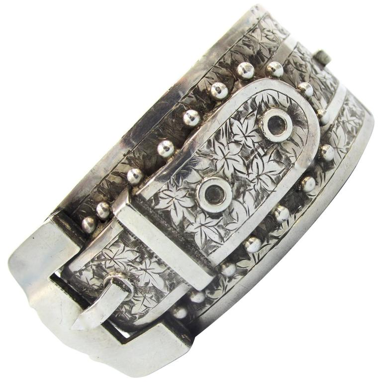 Antique Sterling Silver Buckle Bracelet For Sale