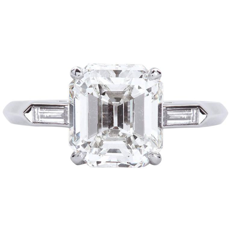 2.50 Carat Emerald Cut Diamond Platinum Engagement Ring GIA Certified