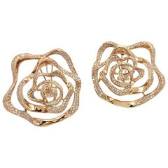 Diamond 18kt Rose Gold Flower Design Earrings