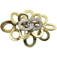 Diamond Gold Circles Pendant and Brooch Pin