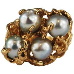 Large Baroque Pearl 14K Gold Cocktail Ring Free Form Abstract