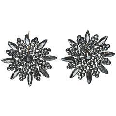 Antique Victorian Snowflake Cut Steel Earrings