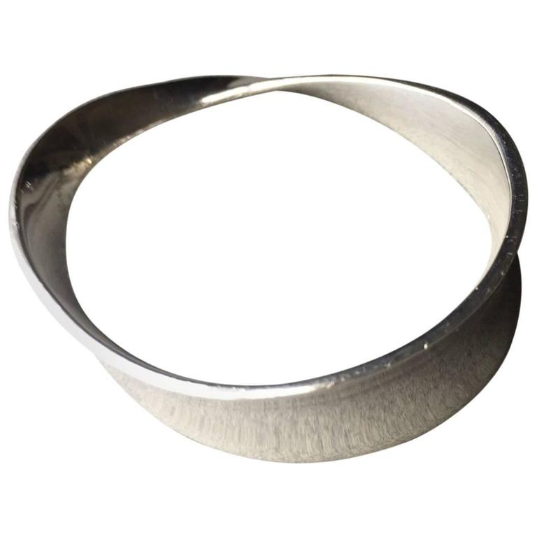 "Georg Jensen Sterling Silver ""Mobius"" Bangle Bracelet, No. 206 by Vivianna Torun"
